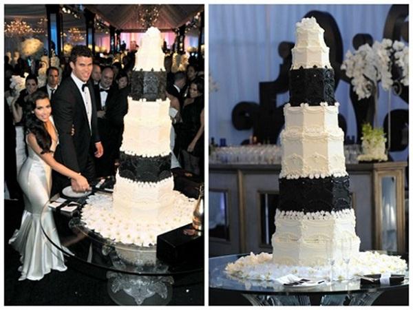 Chiếc bánh trắng đen trong đám cưới của Kim Kardashian