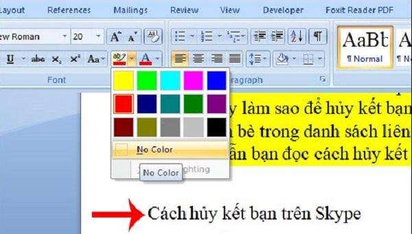 Sử dụng cách xóa màu nền bằng công cụ text highlight color
