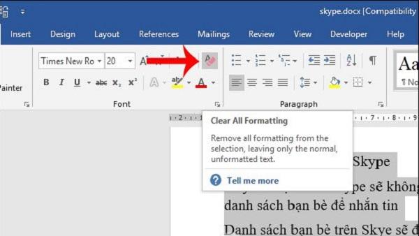 Sử dụng chức năng Clear All Formatting sẵn trong word