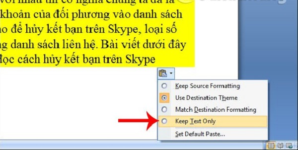 Sử dụng chức năng paste trong word
