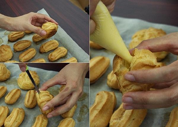 Bơm nhân vào vỏ bánh sau khi nướng