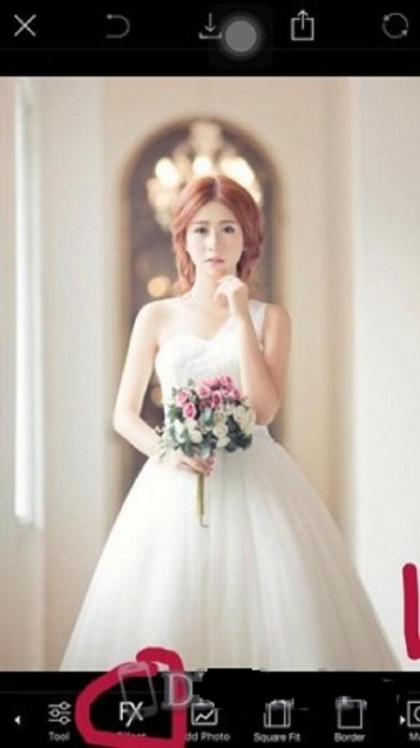Công cụ Fx trong phần mềm ghép ảnh cô dâu Picsart