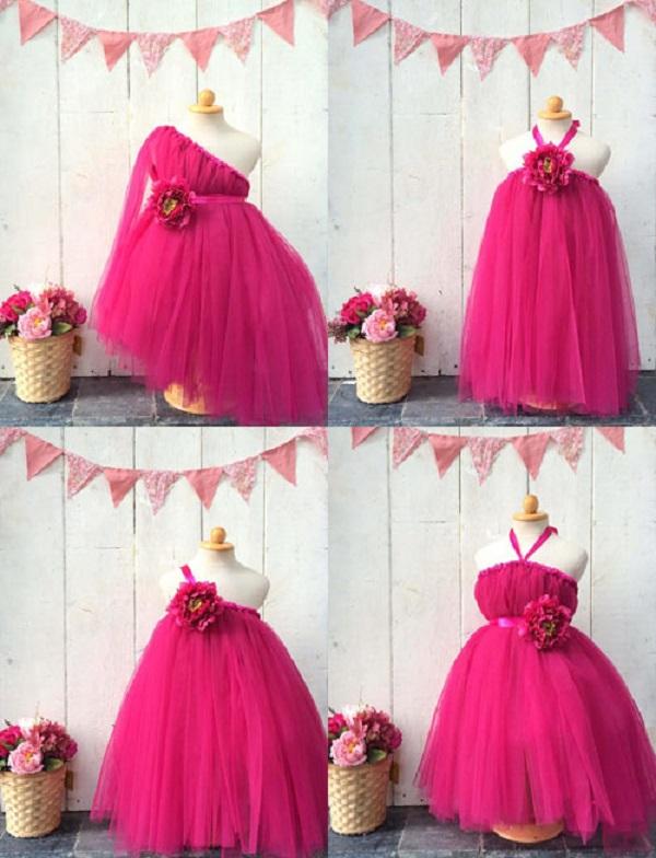 12 kiểu đầm xòe công chúa với cách gắn hoa đặc biệt