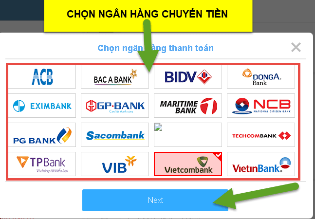 Chọn ngân hàng để nộp