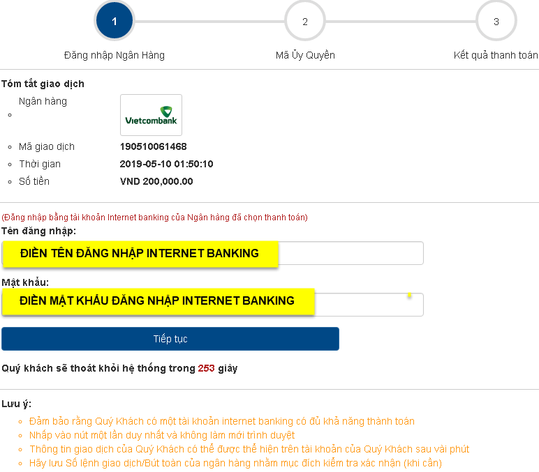 Đăng nhập tài khoản ngân hàng để chuyển tiền